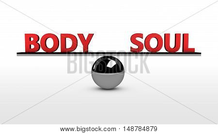 Body and soul lifestyle balance concept 3d illustration.