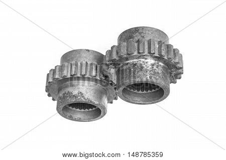 metal cog gears isolated on white background black white