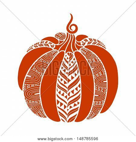 Decorative pumpkin with beautiful pattern. Harvest Thanksgiving illustration. Isolated vector image.
