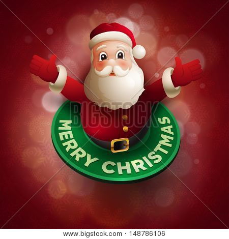 Happy Santa Claus giving a big hug. Christmas vector illustration. Elements are layered separately in vector file.