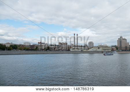 Moscow, Russia - September 25, 2016: River Motor Ship On Moscow-river