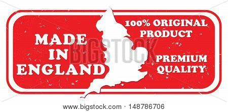 Made in England, Original Product, Premium Quality - grunge label with the map and Flag of England, for retail industry. Print colors used