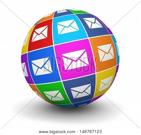 Email marketing and newsletter concept with colorful icons on a globe 3D illustration.