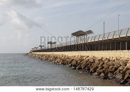 view of the harbor dike of Alicante Spain