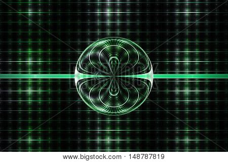 Abstract symmetrical ornament on black background. Computer-generated fractal in emerald green and white colors.