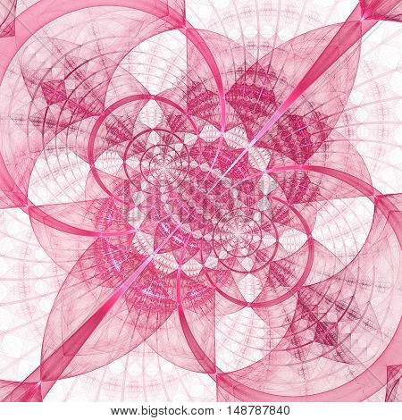 Abstract geometrical ornament on white background. Computer-generated fractal in rose colors.