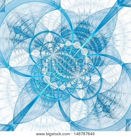 Abstract geometrical ornament on white background. Computer-generated fractal in light blue colors.