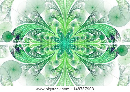 Abstract floral ornament on white background. Symmetrical pattern. Computer-generated fractal in turquoise emerald green and dark blue colors.