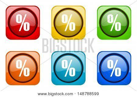 percent colorful web icons