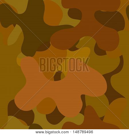 abstract vector chaotic spotted seamless pattern - brown and green