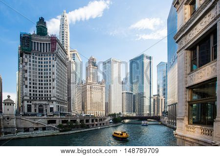 Chicago, USA - July 8, 2014: Chicago's famous Wrigley Building on Michigan Ave on a hot summer's day