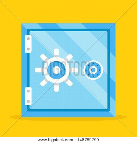Vector safe. Cartoon metal safe deposit box. Money protection. Shiny blue safe flat design illustration