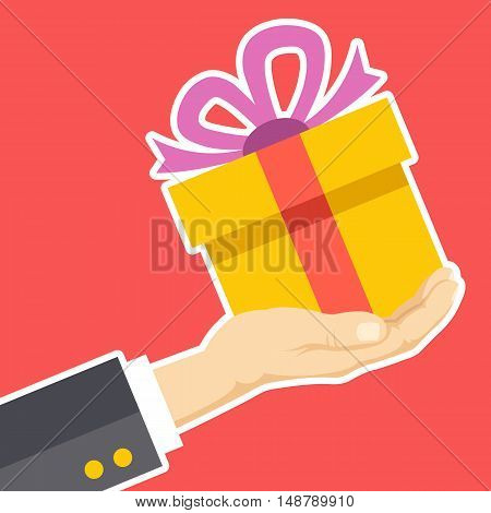 Hand holding gift box. Congratulations, receive or give giftbox, surprise, Christmas present concepts. White line flat design. Modern vector illustration