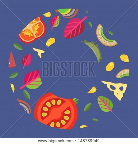 Vector background in a wide rings. Pizza flat style. Gray-blue background.