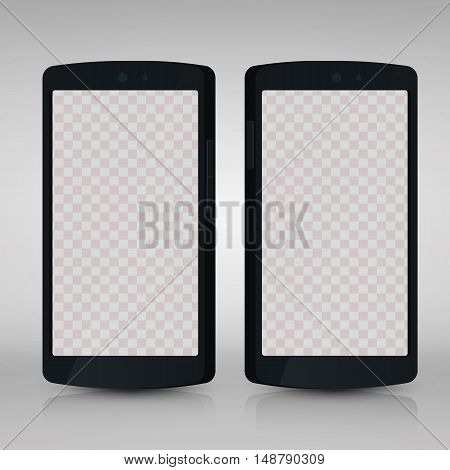 Flat 3d isolated black smartphones mockups with blank screen isolated. Empty screen phone. Vector illustration. for printing and web element, Game and application mockup.