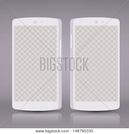 Flat 3d white smartphones mockups with blank screen isolated. Empty screen phone. Vector illustration. for printing and web element, Game and application mockup.