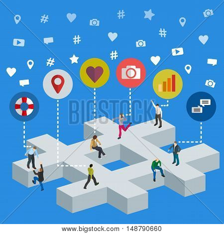 Social media marketing 3d isometric concept. Social media web banner. Isometric people on by #. Flat social icons. SMM vector illustration.