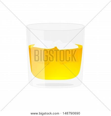 Glass of whiskey. Alcohol drink. Isolated on white vector illustration. Cartoon style.