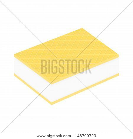 Ice cream between two wafers. Isolated on white vector illustration.