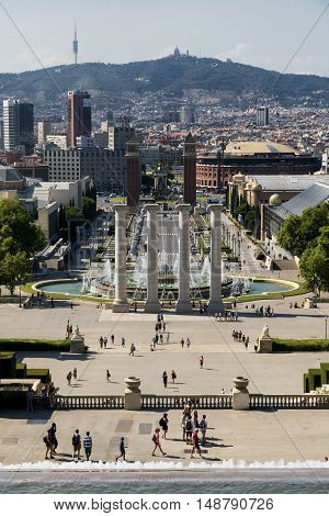 BARCELONA, SPAIN - JULY 12, 2016: Barcelona (Catalunya Spain): the hill of Montjuich and the Museum of Catalan Art. View of Plaza de Espana