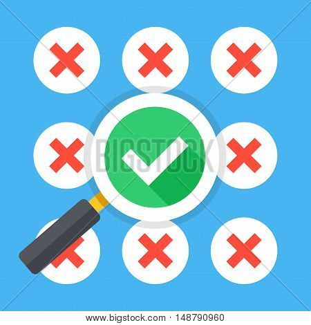 Many red crosses round check mark icons set and magnifying glass with tick icon. Make right choice, good decision, best solution concepts. Trendy long shadow flat design. Vector illustration
