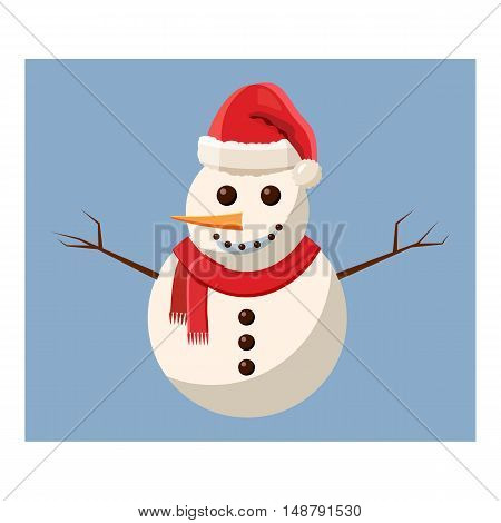 Snowman icon in cartoon style isolated on white background vector illustration