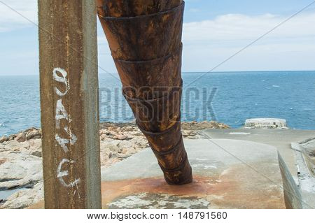 Artistic installation. Huge shell near A Coruna.