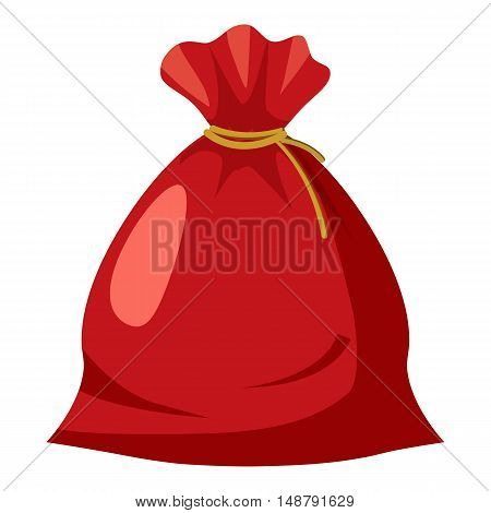 Santa sack icon in cartoon style isolated on white background vector illustration