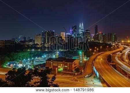 Dramatic Scenery Of Elevated Highway Heading Towards Kuala Lumpur City Centre At Night