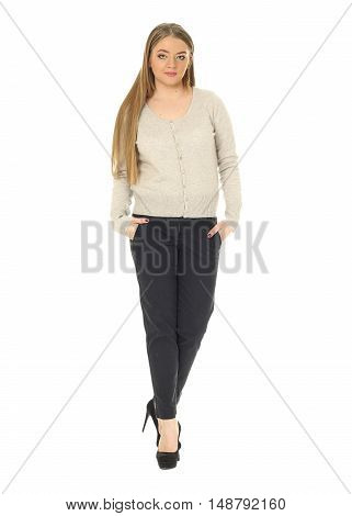 Studio Shot Of A Large Woman In Black Trousers