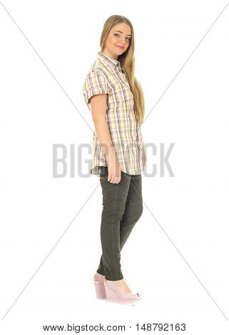 Studio Shot Of A Casually Dressed Large Woman