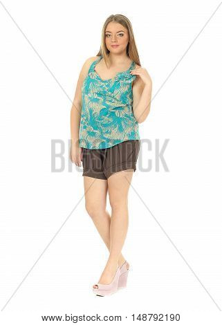 Studio Shot Of A Large Woman In Brown Shorts Isolated