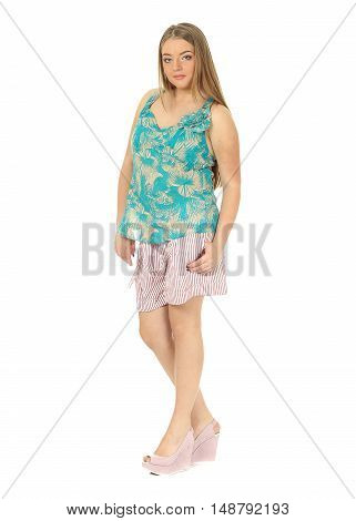 Studio Shot Of A Large Woman In Pink Shorts Isolated