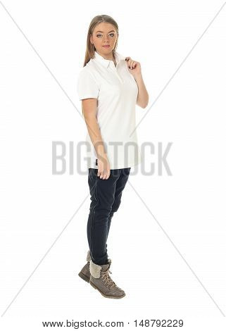 Studio Shot Of A Large Woman In Blue Trousers