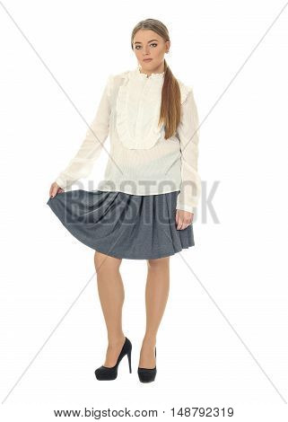 Studio Shot Of A Large Woman In Blue Skirt Isolated