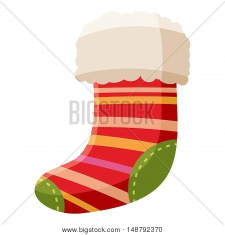 Christmas sock icon in cartoon style isolated on white background vector illustration