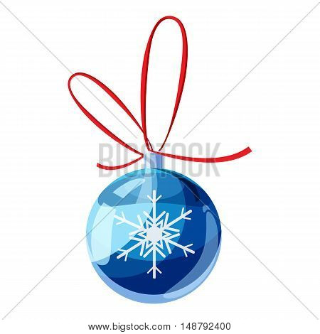 Blue christmas ball icon in cartoon style isolated on white background vector illustration