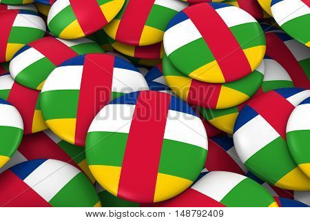 Central African Republic Badges Background - Pile Of Central African Flag Buttons 3D Illustration