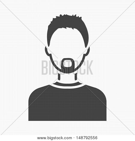 Man with a beard icon black. Single avatar, peaople icon from the big avatar simple.