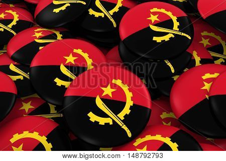 Angola Badges Background - Pile Of Angolan Flag Buttons 3D Illustration