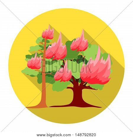 Forest fire vector illustration icon in flat design