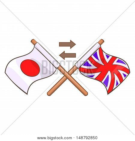 Translation from japanese to english icon in cartoon style isolated on white background vector illustration