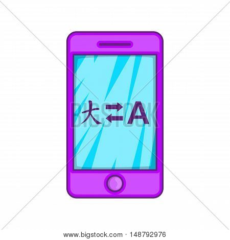 Mobile app with translator icon in cartoon style isolated on white background vector illustration