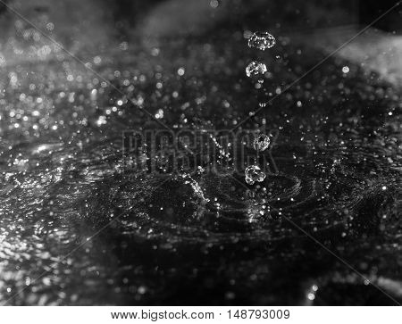 squirt, splash of water on a black background, drops