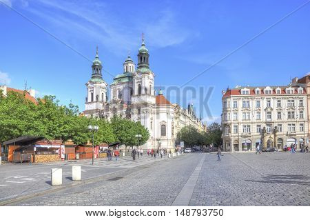 PRAGUE CZECH REPUBLIC - May 06.2012: Church of Saint Nicholas the church at the Old Town Square in Prague monumental religious building the main church of the Czechoslovak Hussite Church