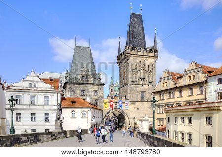 PRAGUE CZECH REPUBLIC - May 06.2012: Entrance to the Charles Bridge over the Vltava river