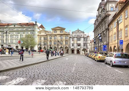 PRAGUE CZECH REPUBLIC - May 06.2012: Ancient houses and mansions in the historic center of city