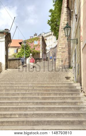 PRAGUE CZECH REPUBLIC - May 06.2012: Steep stairs to the complex of buildings of cathedral Saint Vitus Cathedral