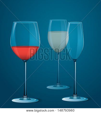 Vector illustration of transparent wineglasses with wine.