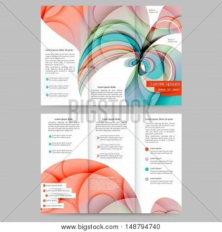 Color tri fold  brochure template with abstract lines and waves